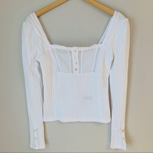 Free People White Cotton & Lace Crop Top